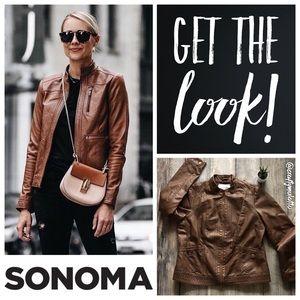 NWOT Chestnut Scuba Fit Faux Leather Moto Jacket